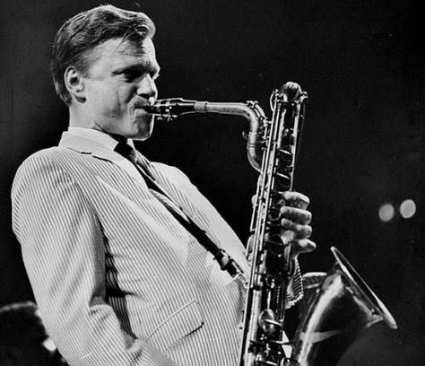 Gerry Mulligan playing at the Daily News Jazz Festival at Madison Square Garden.