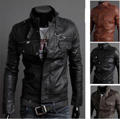 Men's Faux Leather Jacket | Jackets men fashion, Leather