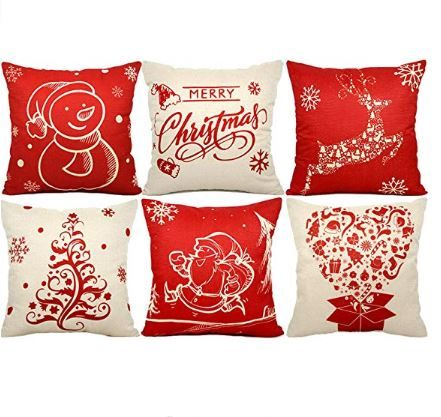 USTYLES 6PCS Christmas Pillow Covers 18 X 18 Christmas Decorations Pillows Covers Christmas Decorative Throw Pillows Cases Sofa Indoor Home Décor