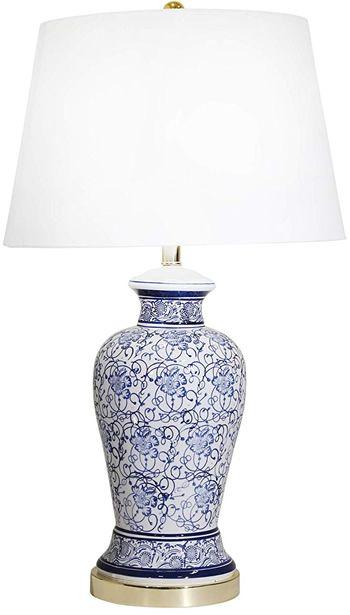 Sagebrook Home 50074 02 Cobalt Blue And White Floral Pattern Table Lamp Blue And White Table Lamps White Table Lamp Blue And White Lamps White Buffet Table Blue and white table lamp