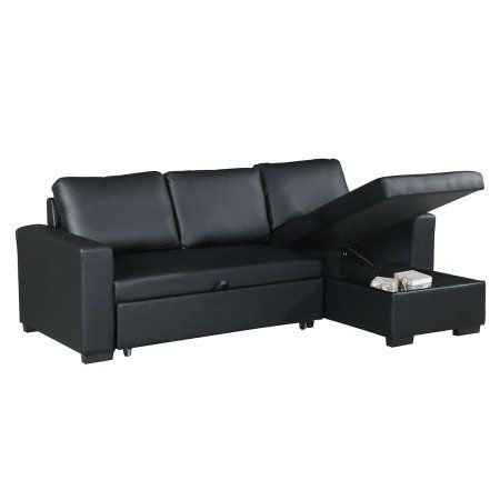 Bobkona Parker Faux Leather 2 Piece Sectional With Pull Out Bed And Compartment In Black Leather Sectional Sofas Sectional Sofa Sofa