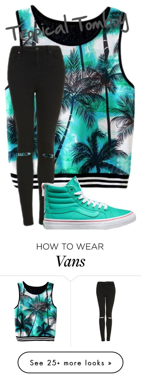 """Tropical Tomboy"" by avalienho on Polyvore featuring Topshop, Vans, tropical and blessed"