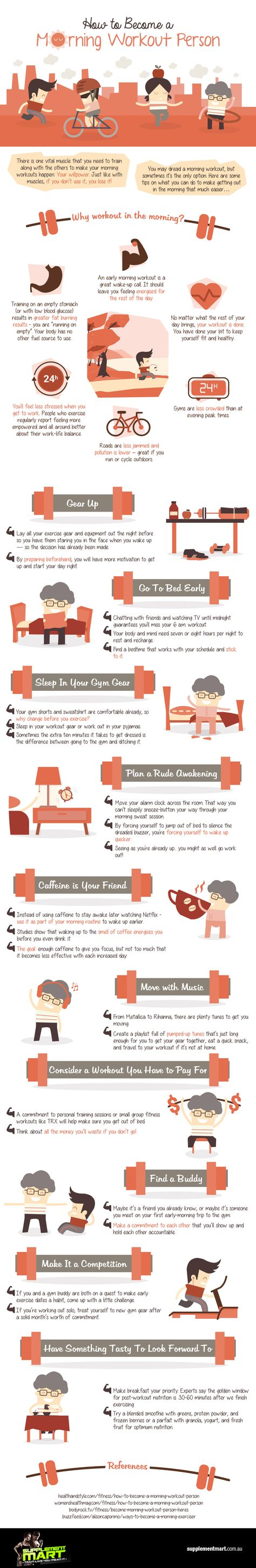 10 Awesome Ways to Become a Morning Workout Person - Infographic - UrbanNaturale