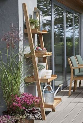 Ladder In The Garden Design Ideas And Remodel 26 Garden Shelves Outdoor Shelves Garden Design