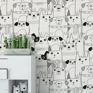 Dog Mix Wallpaper Peel And Stick Wall Mural Removable Animal Etsy In 2021 Wallpaper White Wallpaper Black And White Wallpaper