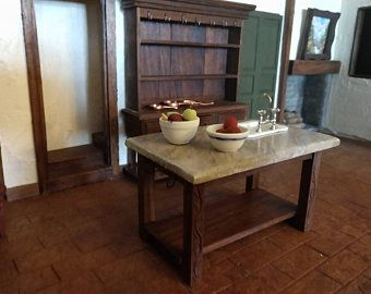 Small Medieval Tudor Walnut Work Table Island Dollhouse Miniature 1:12 Artisan