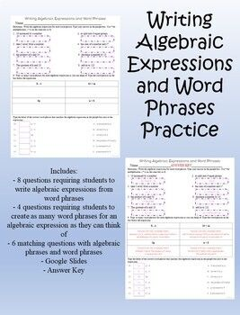 Includes 8 Questions Requiring Students To Write Algebraic Expressions From Word Phrases4 Q Writing Algebraic Expressions Algebraic Expressions Digital Writing