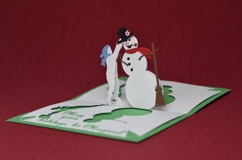 Magical Snowman Pop Up Card Template Creative Pop Up Cards Pop Up Card Templates Christmas Card Template Pop Up Cards