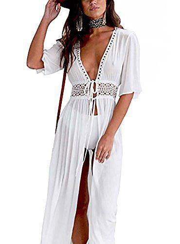 4b6f5ed1a Carolilly Cache Maillot Femme Robe de Plage Longue Ajourée Manches 1/2  Blouse Bikini en Dentelle Blanc (3XL/44)