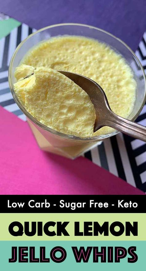 dessert recipes 266979084148291631 - This recipe for Quick Lemonade Sugar Free Jello Whips is a creamy, fruity treat with only 35 calories and net carbs per serving. It's a low carb and Keto dessert that you can whip up in no time. Desserts Pauvres En Calories, Desserts Keto, Low Calorie Desserts, Sugar Free Desserts, Sugar Free Recipes, Low Calorie Recipes, Easy Desserts, Sugar Free Jello Keto, Sugar Free Treats