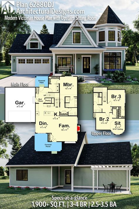 Modern Victorian-Style Cottage House Plan 62880DJ gives you 1,900+ square feet of living space with 3-4 bedrooms and 2.5-3.5 baths. AD House Plan #62880DJ #adhouseplans #architecturaldesigns #houseplans #homeplans #floorplans #homeplan #floorplan #floorplans #houseplan
