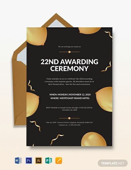Award Ceremony Invitation Template Free Pdf Word Psd Apple Pages Illustrator Publisher Outlook Invitation Template Awards Ceremony Party Invite Template