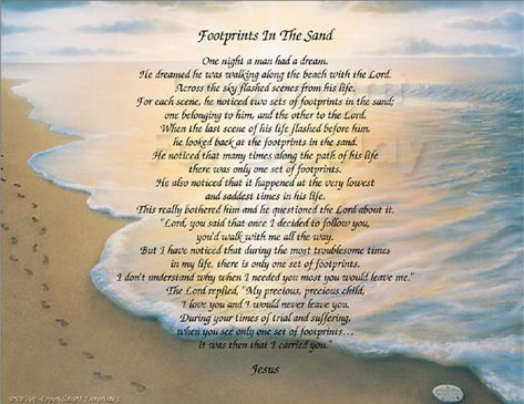Check out the Footprints in the Sand poem on 8.5x11 Beach Background by ByGraceDesignsStudio, $15.00