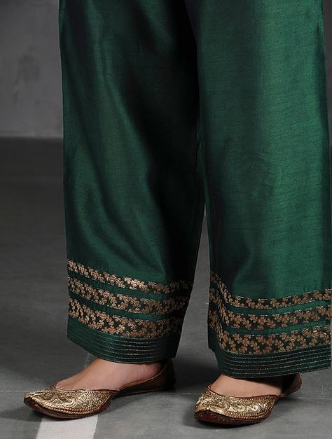 Green Silk Cotton Pants with Brocade
