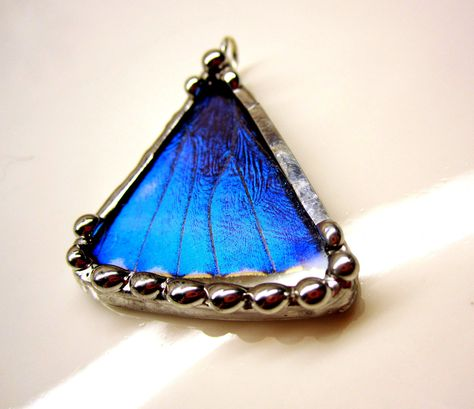 Real Butterfly Jewelry, Pendant, Morpho Zephyritis, Real Butterfly. $37.00, via Etsy.
