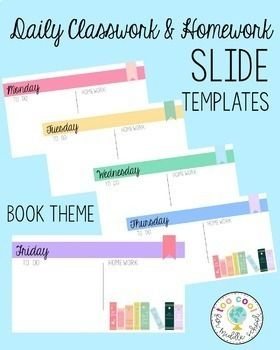 Daily Classwork Homework Slide Templates Book Theme With