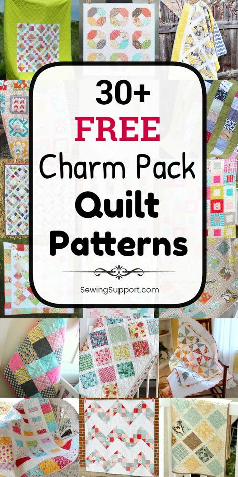 Free Quilt Patterns using Charm Pack fabric bundles. diy projects and tutorials for quilts using charm packs inch squares). Free Baby Quilt Patterns, Scrappy Quilt Patterns, Beginner Quilt Patterns, Quilting Tutorials, Scrappy Quilts, Quilting Ideas, Modern Quilting, Patchwork Quilting, Quilting Fabric