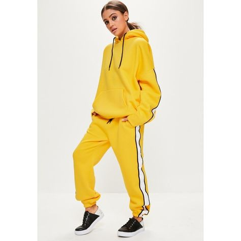 56a84e35 Yellow Oversized White Binding Tracksuit Joggers (£20) ❤ liked on Polyvore  featuring activewear