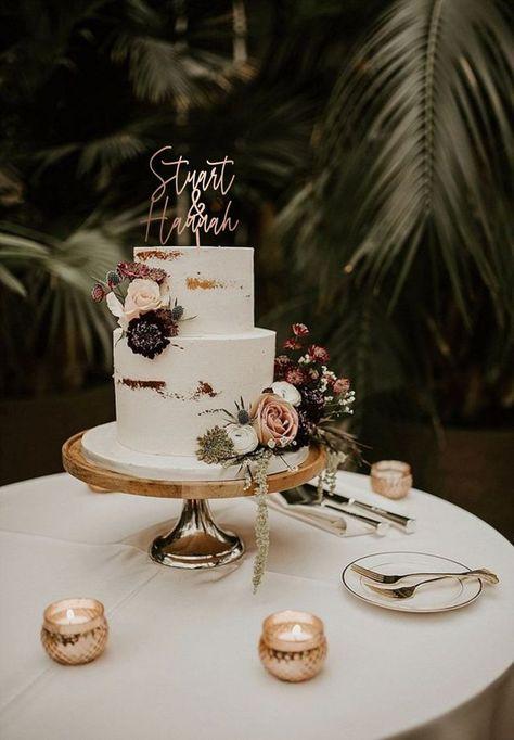2 Tier Wedding Cakes, Small Wedding Cakes, Wedding Cake Rustic, Wedding Cakes With Cupcakes, Elegant Wedding Cakes, Wedding Cakes With Flowers, Boho Wedding, Wedding Blog, Flower Cakes