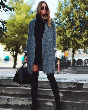 Duo we love: vestido e OTK boots | Look com bota over, Looks