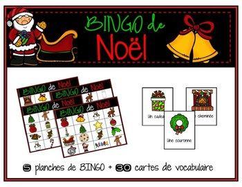 BINGO   vocabulaire de Noël (With images) | Winter holidays