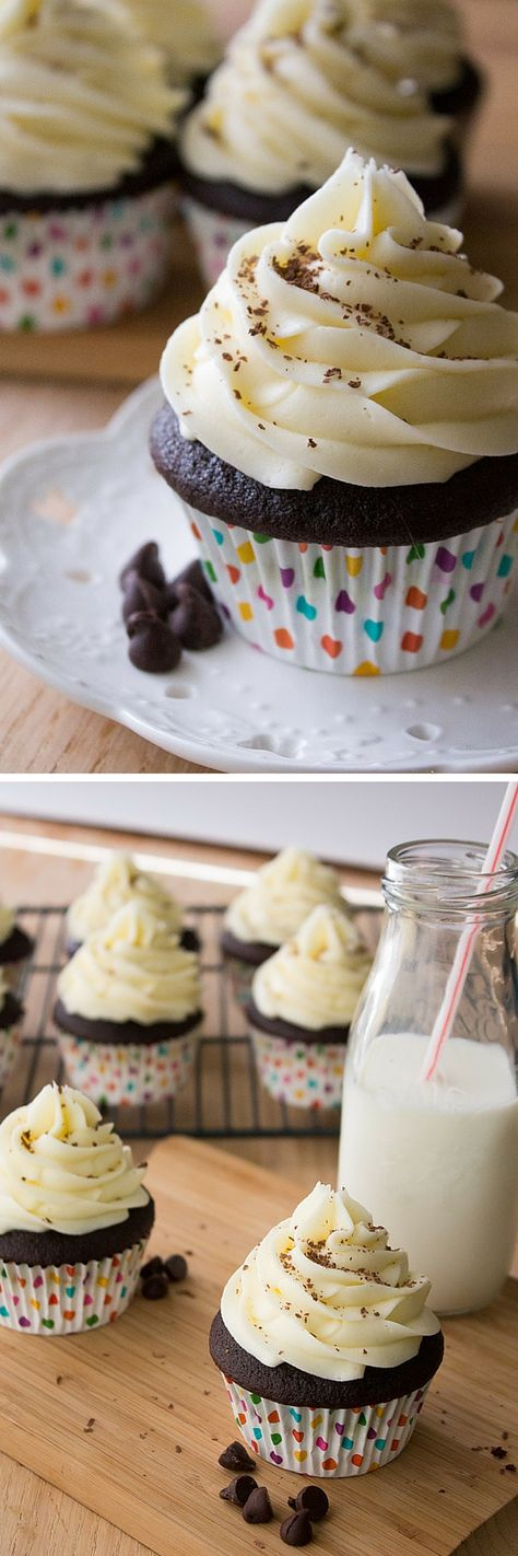 Chocolate Cupcakes with Cream Cheese Frosting. Super moist chocolate cupcakes are made even better by frosting them with thick & creamy cream cheese buttercream!
