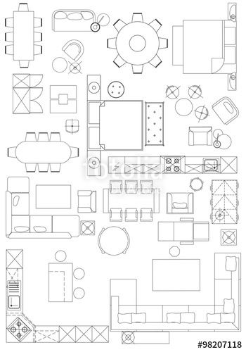 Quot Standard Furniture Symbols Used In Architecture Plans Icons