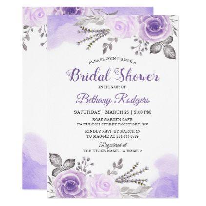 Chic Pastel Purple Rose Garden Bridal Shower Invitation Zazzle