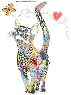 """Whimsical Zentangle cat named """"Rainbow Kitty"""" dedicated to all the animals that have crossed the Rainbow Bridge. Completed 6-29-14. A 12-pack of note cards are available for $23.00 with FREE shipping and handling. Prints also available."""