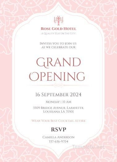 Hotel Opening Invitation Card Template Free Jpg Illustrator Word Apple Pages Psd Publisher Template Net