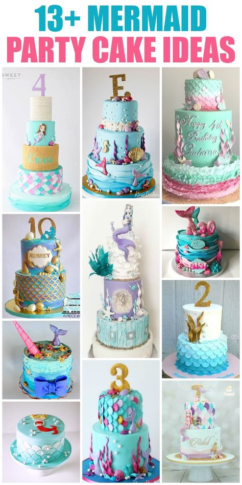 13+ Mermaid Cake and Party Ideas! If you're looking for inspiration for your mermaid party, click over to Rose Bakes for lots of beautiful mermaid cakes &