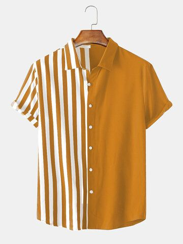 Designer ChArmkpR Men Patchwork Stripe Contrast Color Casual Shirt - NewChic Mobile