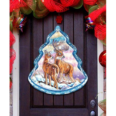 The Holiday Aisle Loving Deers Wooden Door Hanger Size 12 H X 9 W X 0 25 D Christmas Tree Yard Art Christmas Yard Art Decorating With Christmas Lights