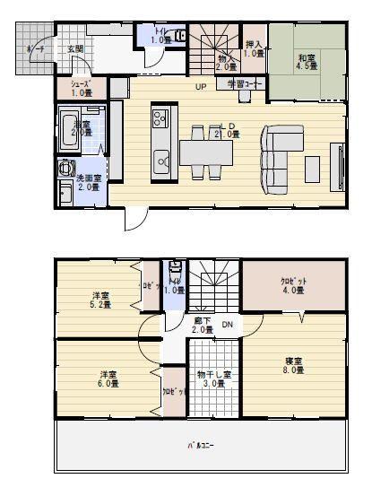 部屋干しのできるアイランドキッチンの家の間取り図 間取り図
