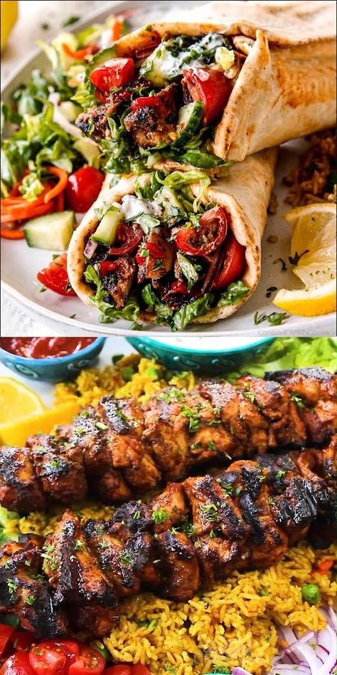 EASY DONER CHICKEN KEBABS (Baked or Grilled) bursting with exotic flavors that will have you drooling! Recipes for wraps or plates with Greek Yogurt Sauce! (+ VIDEO, how to freeze, how to make ahead) #recipes, #dinner #healthyrecipes #chicken#chickenrecipes #recipesfordinner #easyrecipe #easydinner #dinner #dinnerrecipes #dinnerideas #dinnertime #chickenwrapsv