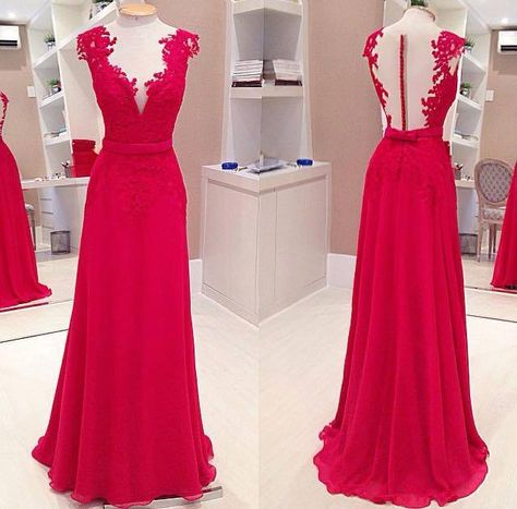 08ac9fe351c Sexy Red Deep V-Neck Prom Dresses Sleeveless Chiffon Evening Dresses with  Bowknot - Products - 27DRESS.COM