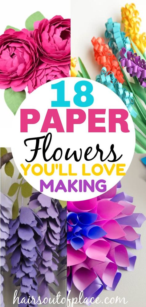 18 stunning paper flower tutorials to help you learn how to make DIY paper flowers from tissue paper, make giant paper flowers make easy ones and with a Circut too! #crafts #easycrafts #diycrafts #springcrafts #papercrafts #parties #diyparties #decorations