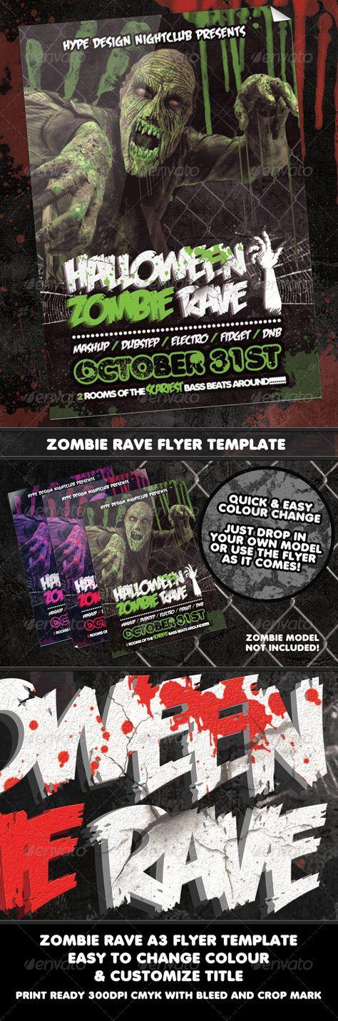 Halloween Zombie Rave Nightclub Event Poster or Fl Halloween - zombie flyer template