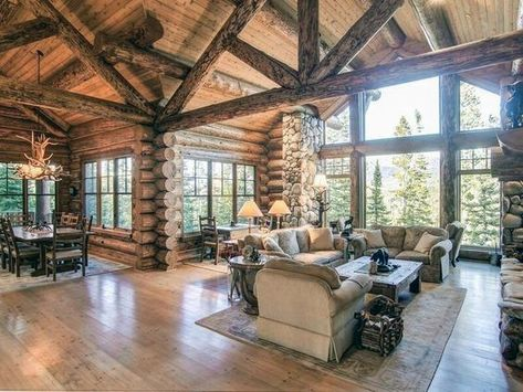 n this article, we will talk about excellent log cabin interior design you can apply into your cabin. Appropriate Lighting for Cabin Interior Design. Log Cabin Living, Log Cabin Homes, Plan Chalet, Cabin Interior Design, Modern Cabin Interior, Wood House Design, Exterior Design, Modern Log Cabins, Log Cabin Furniture