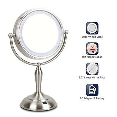 Advertisement Round Led Makeup Mirror Standing Lighted 1x 10x