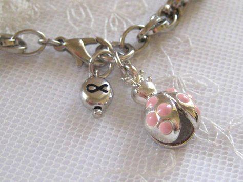 Breast Cancer Awareness Ladybug Bracelet