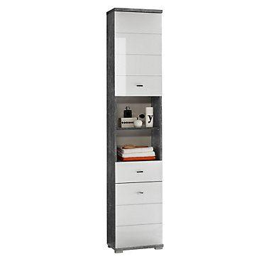 Colonne De Salle De Bain Santorin Blanc Et Beton But Interieur Rangement Deco Locker Storage Storage Lockers