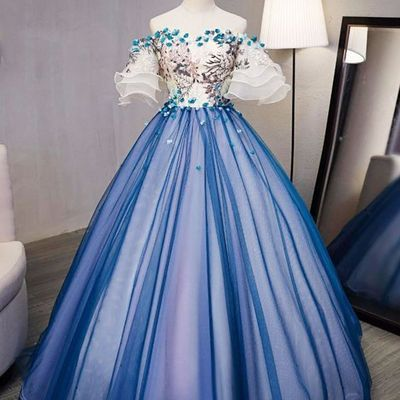 571a8290345 Royal Blue Ball Gown Organza Lace Applique Cheap Prom Dresses PG714