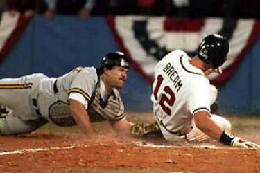 "Sid Bream 1991-1993  1992 NLCS Winning Run. ""Braves win - Braves win - Braves win - Braves win!'........ Chip Carey."