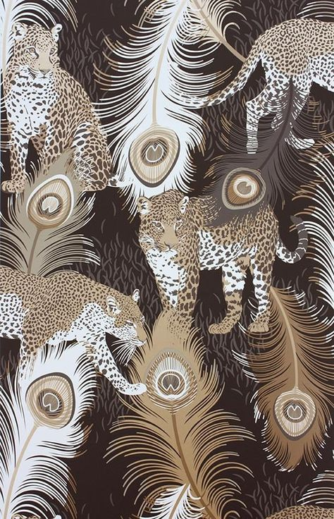 Leopardo Wallpaper in Black and Metallic by Matthew Williamson for Osborne & Little