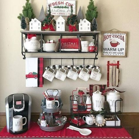 Farmhouse Coffee Bar Christmas 41 Ideas Christmas Kitchen Holiday Coffee Coffee Bar Home