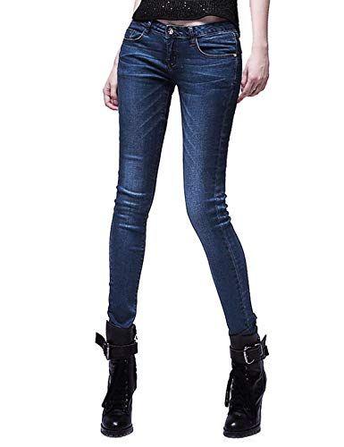 Saoye Fashion Pantalones De Mezclilla De Las Mujeres Slim Fit Moda Stretch Ropa  Jeans Bolsillos Delanteros ecbffefb8e5