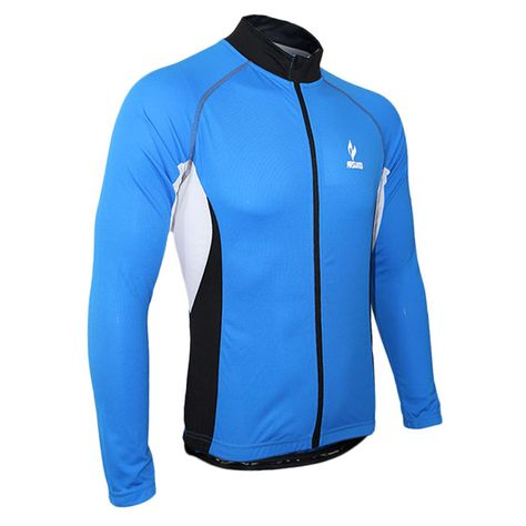 6ac2e71ec Arsuxeo Men Long Sleeve Cycling Jersey Bicycle Bike Outdoor Spring Summer  Sportswear Cloth Zippered Breathable with Rear Pockets