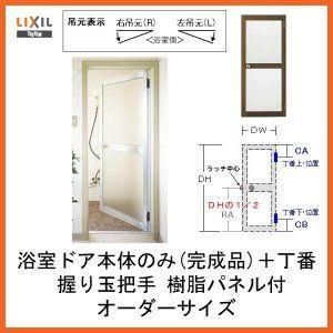 プロ向き 浴室ドア本体のみ 握り玉把手 樹脂パネル付完成品 丁番付