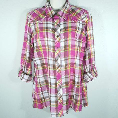 6460cd62 Ariat Womens Sparkle Metallic Plaid Fitted Western Snap Button Shirt -  Large L #Ariat #Blouse #Casual